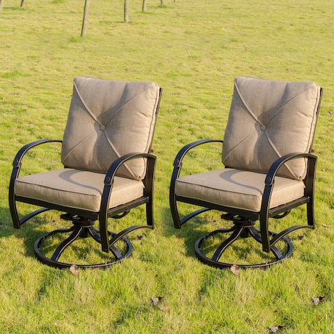Hornby Dining Swivel Rocker with Back and Seat Cushion (Set of 2) by Havenside Home