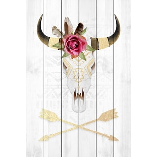 Marmont Hill - Handmade Skull and Arrows II Painting Print on White Wood