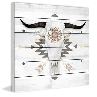 Marmont Hill - Handmade Brave Skull Painting Print on White Wood