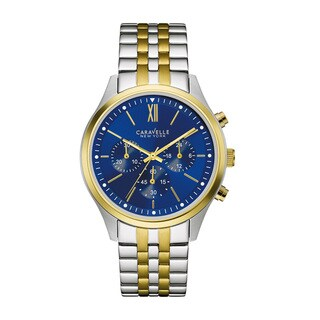 Caravelle NY Men's 45A131 Two Tone Stainless Chronograph Blue Dial Bracelet Watch