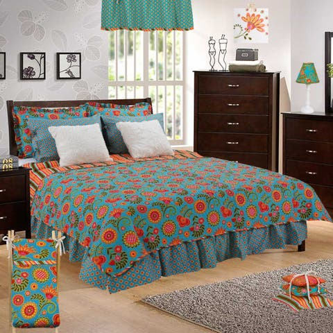 Cotton Tale Gypsy Floral Reversible Quilt Only - Multi-color