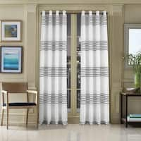 Five Queens Court Franklin Woven Striped Window Curtain Panel