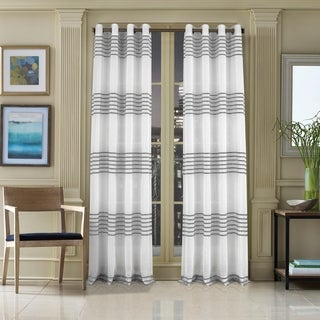 Five Queens Court Franklin Woven Striped Single Curtain Panel