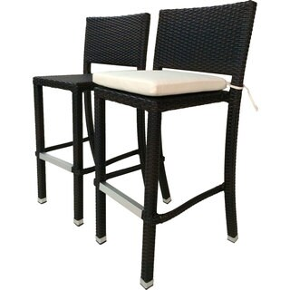 Laura Benasse Crescent Wicker Patio 30 inc Bar Stool with Cushion (Set of 2)(Espresso)