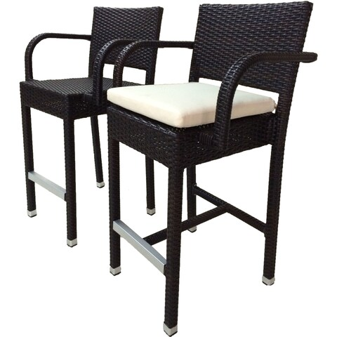 Laura Benasse SunFlower Wicker Patio 30 inc Bar Stool with Cushion (Set of 2)(Espresso)