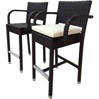 Laura Benasse SunFlower Wicker Patio 30 inc Bar Stool with Cushion (Set of 2)(Espresso)|https://ak1.ostkcdn.com/images/products/18258810/P24395417.jpg?impolicy=medium