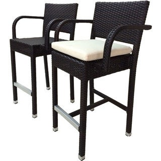 Laura Benasse SunFlower Wicker Patio 30 inc Bar Stool with Cushion (Set of 2)(Espresso)