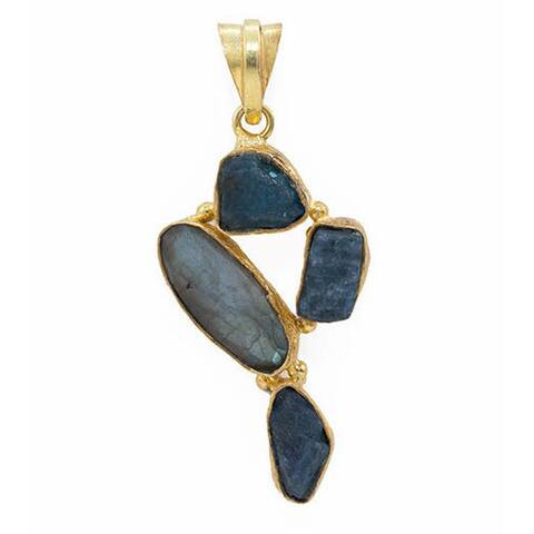 Handmade Gold Overlay Labradorite and Apatite Necklace (India) - Blue