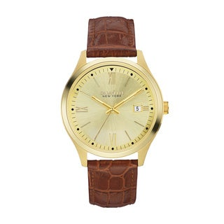 Caravelle NY Men's 44B109 Goldtone Stainless Brown Croco Leather Strap Watch
