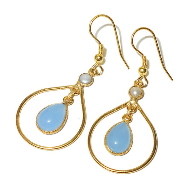 Handmade Gold Overlay Aqua Chalcedony Earrings India Blue