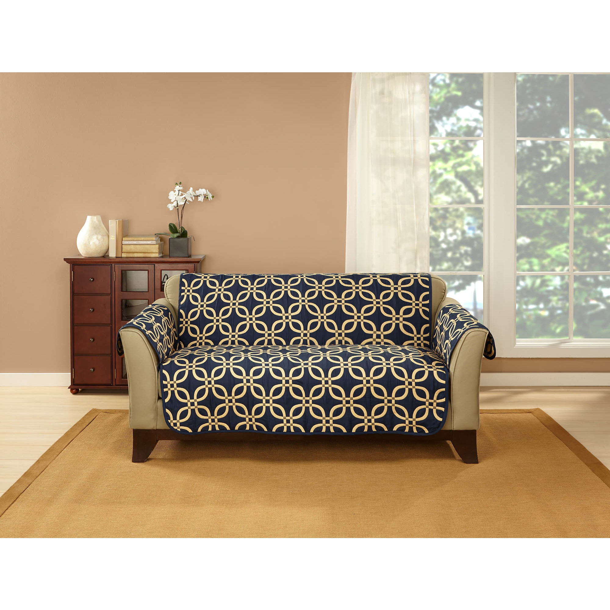 USA Belle Maison Memphis Reversible Sofa Protector (Midni...