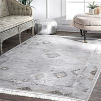 nuLoom Faded Diamond Patches Silver Viscose Vintage Tassel Area Rug (7'6 x 9'6)