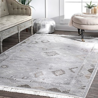 nuLOOM Silver Faded Diamond Patches Viscose Vintage Tassel Area Rug