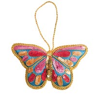 Handmade Pink Butterfly Embroidered Ornament (India)