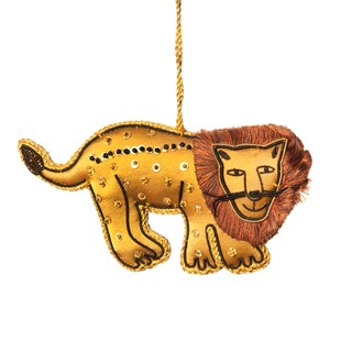 Handmade Lion Embroidered Ornament (India)