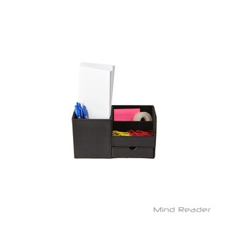 Mind Reader Faux leather 3 Compartment Desk Organizer, Black