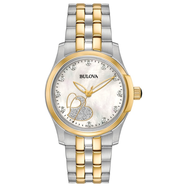 8c88e783b Shop Bulova Women's Diamond Heart Two-tone Stainless Bracelet Watch - Free  Shipping Today - Overstock - 18259191