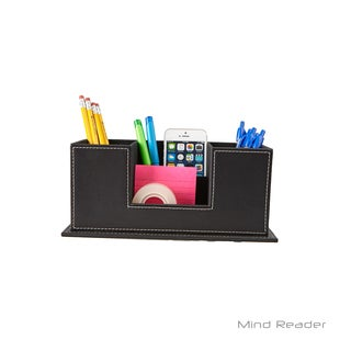 Mind Reader Faux Leather 4 Compartment Desk Organizer, Black