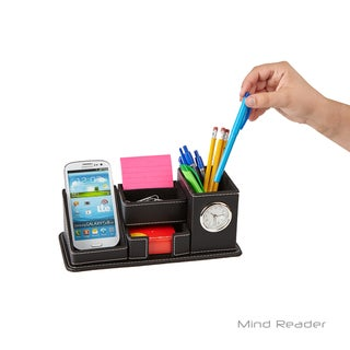 Mind Reader Faux Leather 5 Compact Compartment Desk Organizer, Black