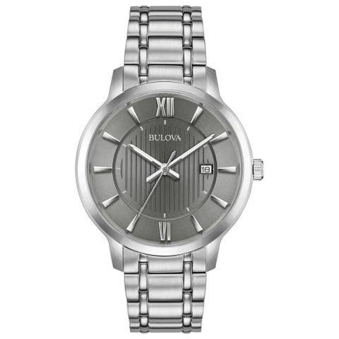 Bulova Mens 96B281 Classics Stainless Grey Dial Bracelet Watch