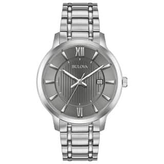 Bulova Mens 96B281 Classics Stainless Grey Dial Bracelet Watch|https://ak1.ostkcdn.com/images/products/18259273/P24395957.jpg?impolicy=medium
