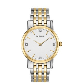 Bulova Men's 98D114 Two Tone Stainless Diamond Dial Bracelet Watch|https://ak1.ostkcdn.com/images/products/18259275/P24395954.jpg?_ostk_perf_=percv&impolicy=medium