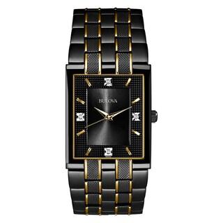 Bulova Men's 98D004 Two-tone Stainless Diamond Black Dial Bracelet Watch