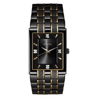 Bulova Men's Two-tone Stainless Diamond Black Dial Bracelet Watch