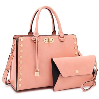 Dasein Gold Studs Satchel with Twist Lock and Matching Wristlet (Option: Pink)