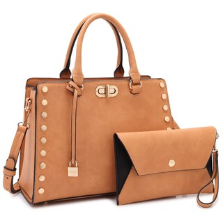 Dasein Gold Studs Satchel with Twist Lock and Matching Wristlet (Option: Tan)
