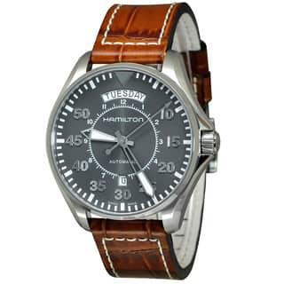 Hamilton H64615585 Khaki Aviation Men's Grey Dial Watch|https://ak1.ostkcdn.com/images/products/18259378/P24396032.jpg?impolicy=medium
