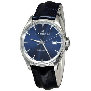 Hamilton H32451641 Jazzmaster Men's Blue Dial Watch|https://ak1.ostkcdn.com/images/products/18259383/P24396033.jpg?impolicy=medium