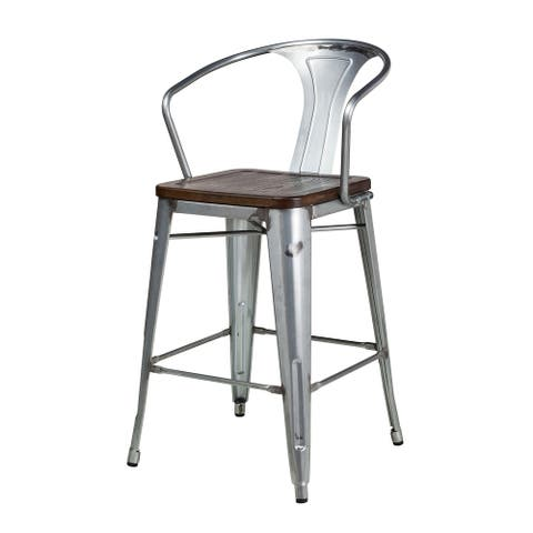 Bastille Galvanized Steel Counter Stool with Walnut Seat