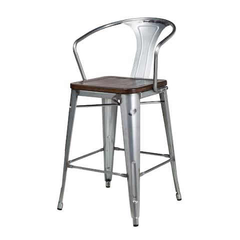 Bastille Galvanized Steel Counter Stool with Walnut Seat