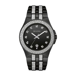Bulova Men's 98B251 Swarovski Crystal Elements Black Stainless Bracelet Watch