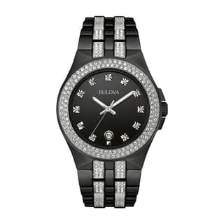 Bulova Men's 98B251 Swarovski Crystal Elements Black Stainless Bracelet Watch|https://ak1.ostkcdn.com/images/products/18259477/P24396062.jpg?impolicy=medium