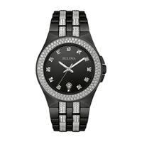 Bulova Men's  Swarovski Crystal Elements Black Stainless Bracelet Watch