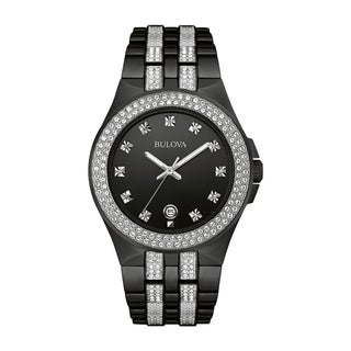 Bulova Men's 98B251 Swarovski Crystal Elements Black Stainless Bracelet Watch (Option: Black)