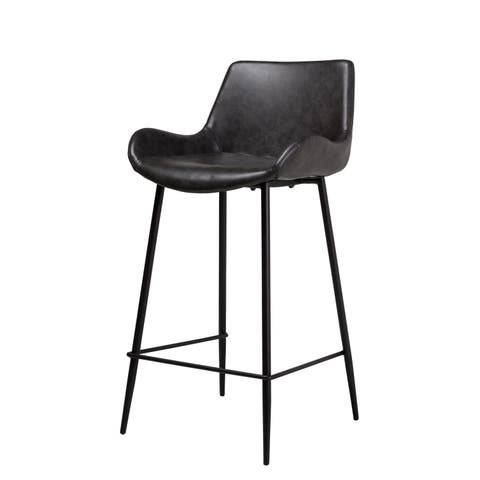 Handmade Cougar Counter Stool in Distressed Grey Leather (China)