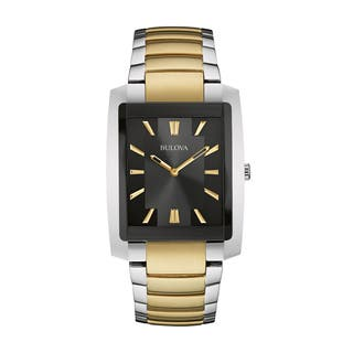 Bulova Men's 98A149 Two-tone Stainless Black Dial Bracelet Watch|https://ak1.ostkcdn.com/images/products/18259546/P24396063.jpg?impolicy=medium