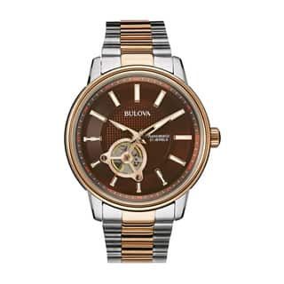 Bulova Men's 98A140 Two Tone Stainless Automatic Bracelet Watch|https://ak1.ostkcdn.com/images/products/18259589/P24396442.jpg?impolicy=medium