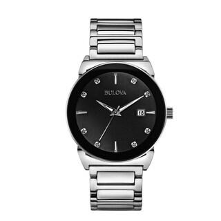 Bulova 96D121 Mens Diamond Black Dial Stainless Bracelet Watch