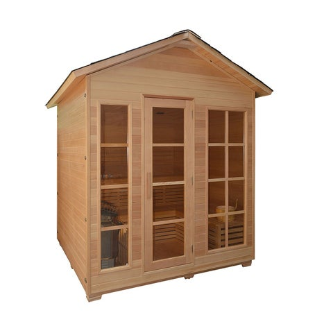 ALEKO 6 Person Wood Outdoor Indoor Wet Dry Sauna with Heater