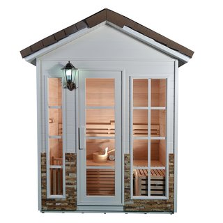 ALEKO 6 Person Wood Outdoor Stone Finish Wet Dry Sauna with Heater