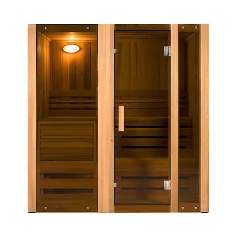 ALEKO 3 Person Indoor Wet Dry Steam Room Sauna with Heater