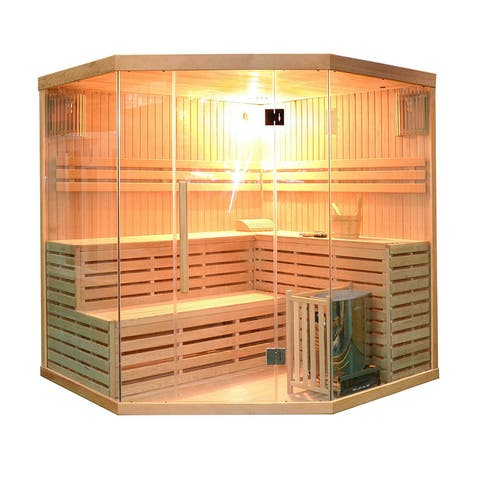 ALEKO 5-6 Person Wood Indoor Wet Dry Sauna with Electrical Heater
