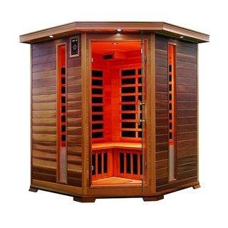 ALEKO 3-4 prs Wood Indoor Dry Infrared Sauna 8 Carbon Fiber Heaters