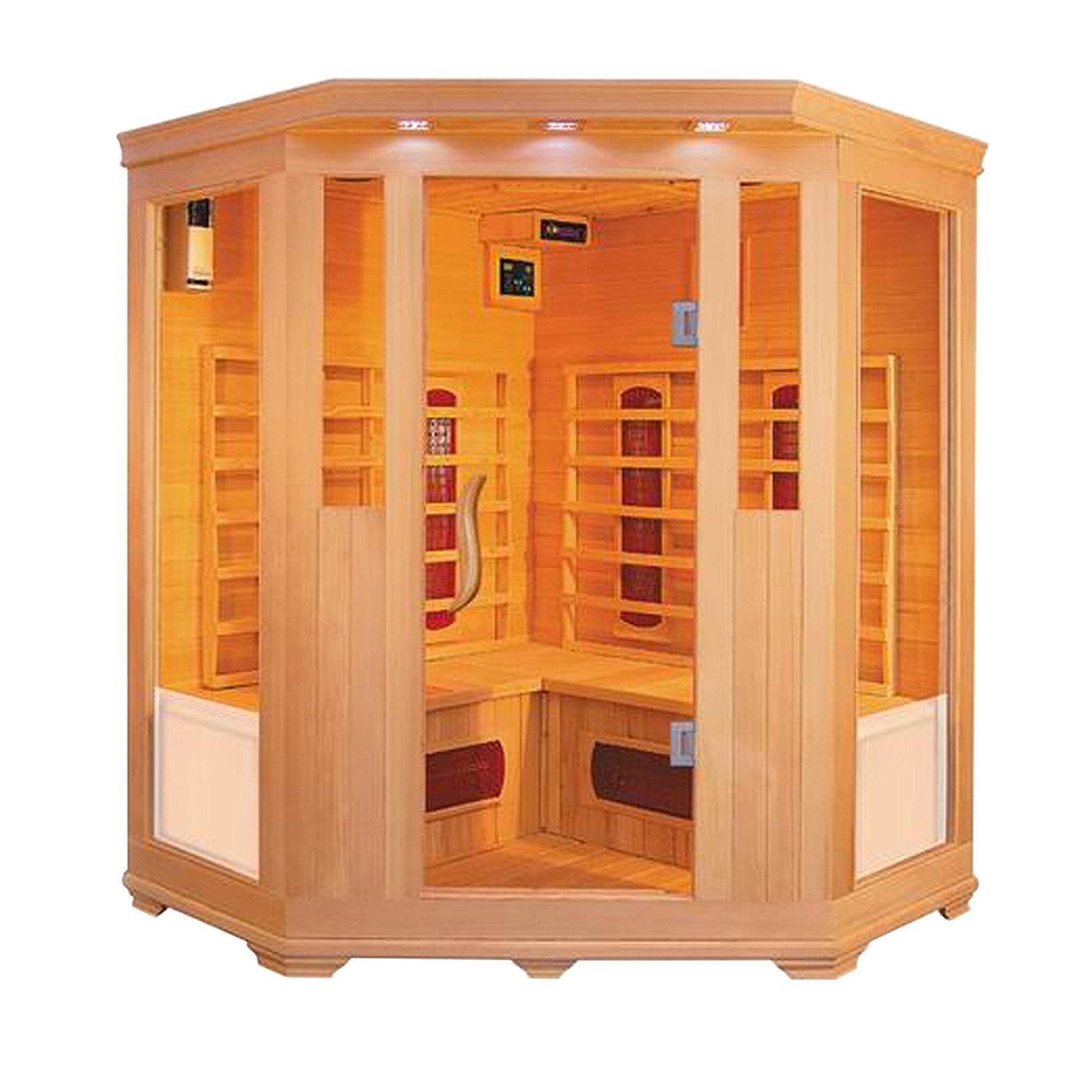 Aleko 3-4 Prs Wood Indoor Dry Infrared Sauna 2 Carbon Fib...