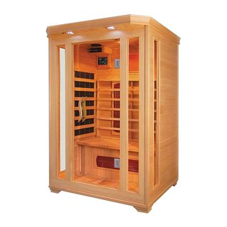 ALEKO 2 Prs Wood Indoor Dry Infrared Sauna 2 Carbon Fiber 4 Heaters