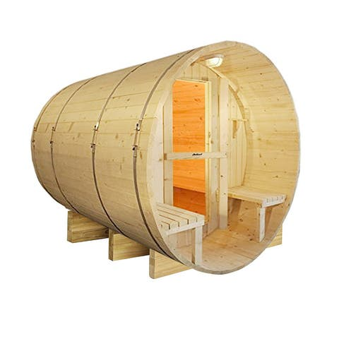 ALEKO 8 Prs Outdoor Indoor Wood Wet Dry Barrel Sauna with Heater